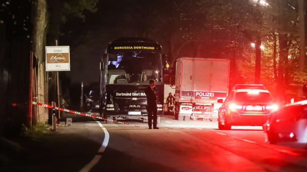 The Borussia Dortmund football club bus after a trade blew up in Dortmund, Germany. (Getty Images)