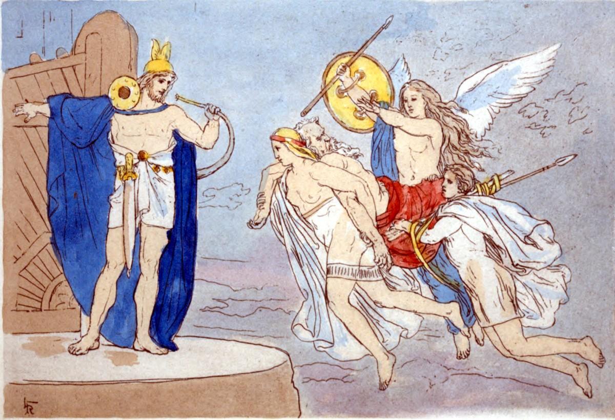 Three valkyries bring the body of a slain warrior to Valhalla, or: Dan Sundheim leaves Viking Global. (Lorenz Frølich [Public domain])