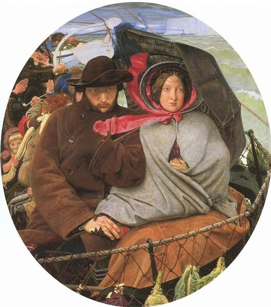 """Ford Madox Brown, """"The Last of England"""" [Public domain], via Wikimedia Commons"""
