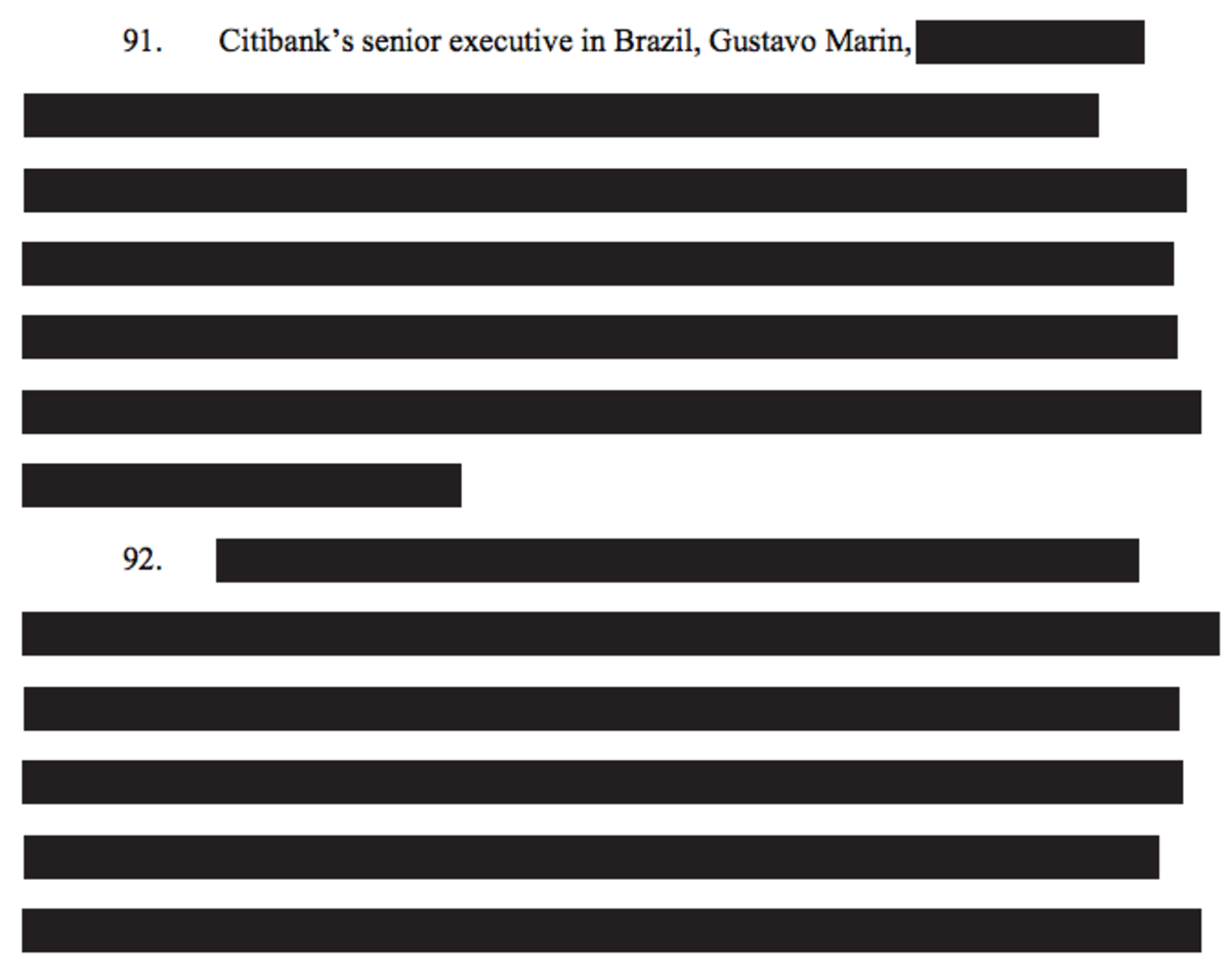 Did Citi [REDACTED] A Brazilian Billionaire By [REDACTED] Corrupt